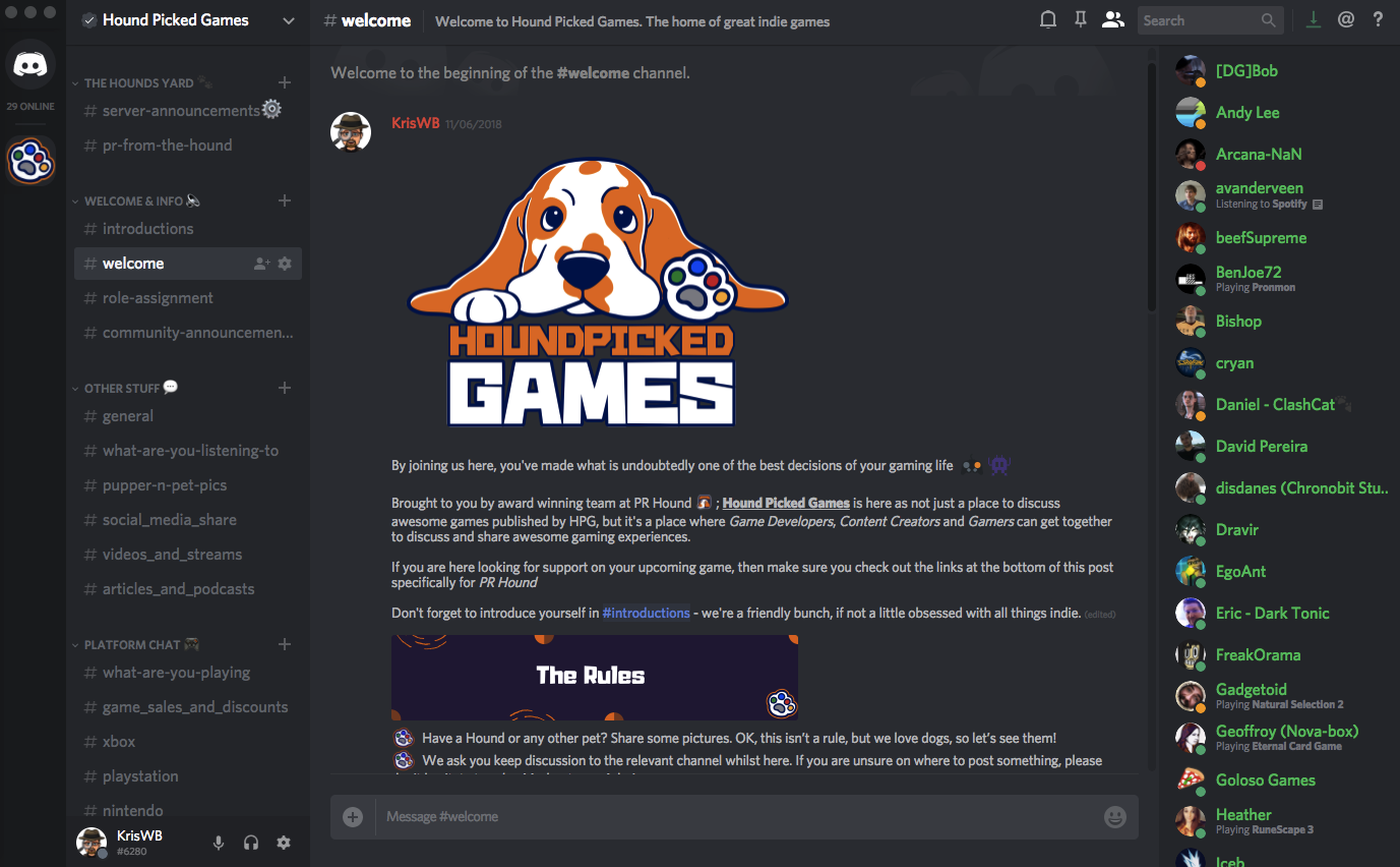 Indie Game Discord, Hound Picked Games, Indie Games, Indie Game Publisher, PR Hound, Game Dev, Indie Game PR